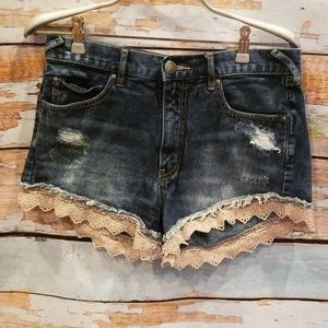 NWOT BARELY WORN Free People Lace Jean Shorts 27!